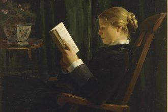 Albert Anker, La liseuse, 1882-1883, olio su tela, 66 x 81 cm, Le Locle, Musée des beaux-arts