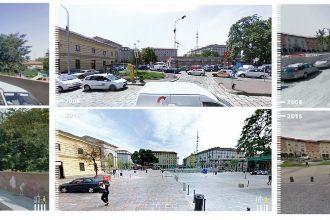 Da sinistra: Bologna, via Gardino - Milano, Piazza XXIV Maggio - Pisa, Piazza Vittorio Emanuele II