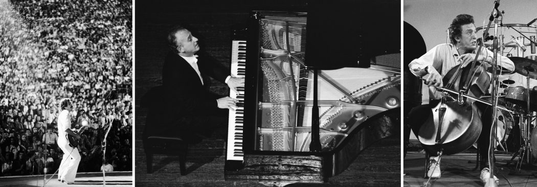 Da sinistra: Carlos Santana e pubblico, Arena di Verona - Maurizio Pollini, Teatro alla Scala, Milano - Tristan Honsinger, Workshop Freie Musik, Akademie der Kunste, Berlino © Silvia Lelli e Roberto Masotti