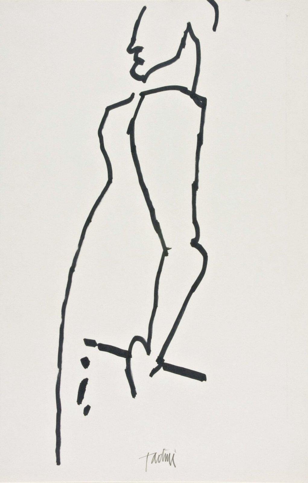 Emilio Tadini, Senza titolo, s.d. [1983 ca.], penarello su cartoncino, 400 x 260 mm, Collezione Galleria Civica di Modena