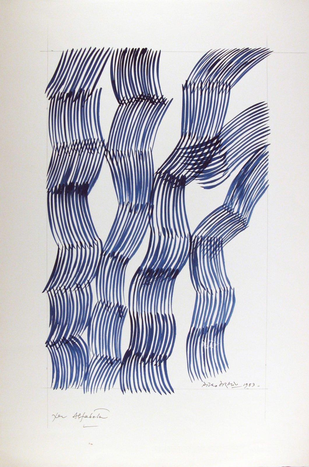 Piero Dorazio, Senza titolo, 1983, inchiostro su cartoncino, 565 x 439 mm, Collezione Galleria Civica di Modena