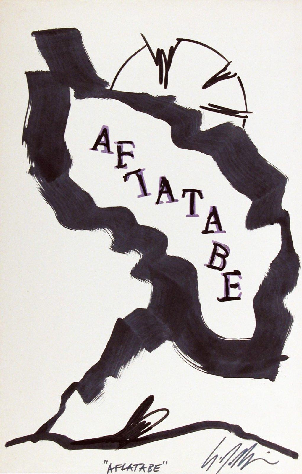 Sergio Dangelo, Aflatabe, s.d. [1983-84], inchiostro e timbri su carta, 400 x 260 mm, Collezione Galleria Civica di Modena