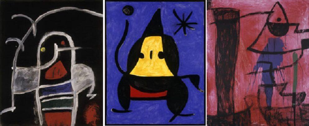 Da sinistra: Joan Miró Untitled, 1975-78 ca Oil, acrylic, varnish and pencil on plywood 6,5x62 cm - Untitled, 1978 Oil on canvas, 92x73 cm - Untitled, 1974 ca Oil, acrylic and chalk on canvas 162,5x130,7 cm © Successió Miró by SIAE 2017 Archive Fundació Pilar i Joan Miró a Mallorca © Joan Ramón Bonet & David Bonet